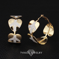 New 2013 Fashion Design Items Frosted Material Heart Earrings For Women High Quality 18K Real Gold Plated Hoop Earrings 7VE3019