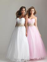Hot Selling 2013 Sweetheart Gold Beadings Tulle Ruffles Hemline A-line Long Prom Dresses