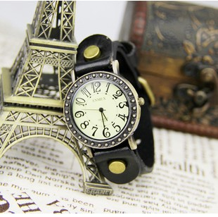 Cowboy punk style watches leather strap watch table of carve patterns or designs on woodwork restoring ancient ways examination(China (Mainland))