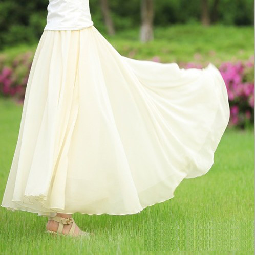 Stella free shipping Bust skirt bohemia midguts double layer chiffon pleated bottom expansion skirt bust skirt(China (Mainland))