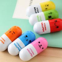 500pcs/lot_Hot sale novelty pen_Cute Smiling Face vitamin Pill BallPen Telescopic Vitamin Capsule Ballpen
