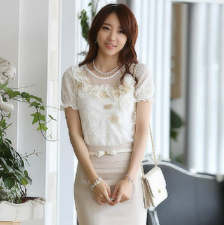 The new spring 2013 han edition of bud silk chiffon blouse shirt white render unlined upper garment(China (Mainland))