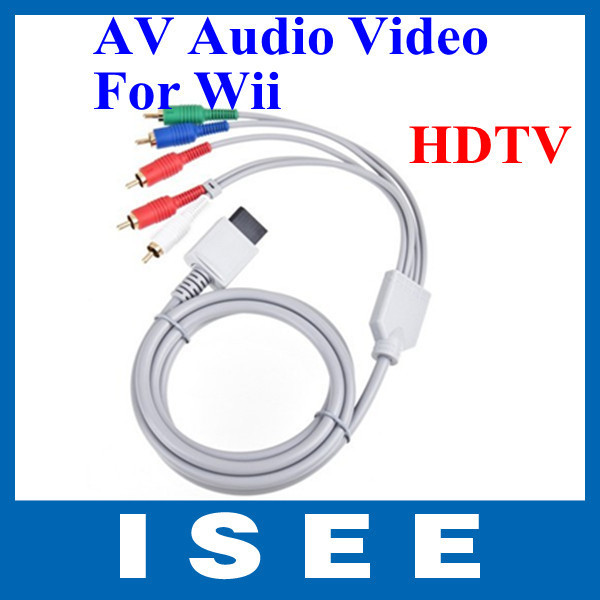 Hot selling !! Free shipping wholesale New 480P HD Component AV Cable for Nintendo Wii Game System(China (Mainland))