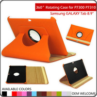 "orange 360 Rotating Leather Cover Case for Samsung Galaxy Tab 8.9"" P7310 P7300"