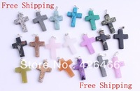 Natural cross stone silver P pendant bead 50pcs 20mmx25mm wholesale