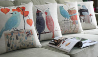 Free Shipping!American Village Flowers And Birds Pillow ,4PCS/ Lot Illustration Cushion Pillows Decorate Sofa Cover Wholesale!