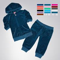 Velvet net colored short-sleeve knee length trousers set spring and autumn sports slim casual set - 16