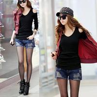 2013 autumn Women strapless t-shirt slim V-neck long-sleeve basic shirt the trend of black