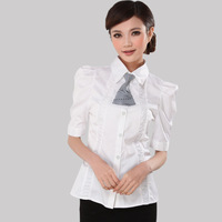 2013 spring women shirt puff sleeve slim fifth sleeve white shirt