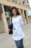2013 plus size spring and autumn basic long-sleeve shirt casual shirt long design female loose t-shirt