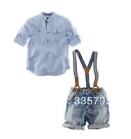 set retail, Free shipping fashion baby boy 2 pcs set casual shirt + jeans with braces gentleman baby clothing set