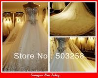 NWD39 best quality hot selling crytals wedding dress big train fashion wedding gowns 2013