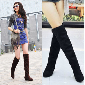 2014 Womens Boots Knee High Faux Suede Flat Boot Fashion Coturnos Shoes Motorcycle Boots Botas ...