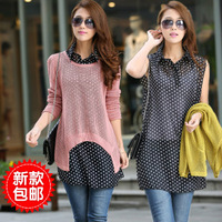 Free Shipping 2013    Spring women's basic shirt sweater outerwear faux two piece set sweater female long-sleeve shirt