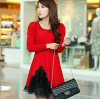 Free Shipping 2013     spring women one-piece dress rhinestones sweep lace decoration medium-long sweater