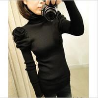 Free Shipping 2013    Vintage  turtleneck puff sleeve slim turn-down collar sweater basic shirt sweater female