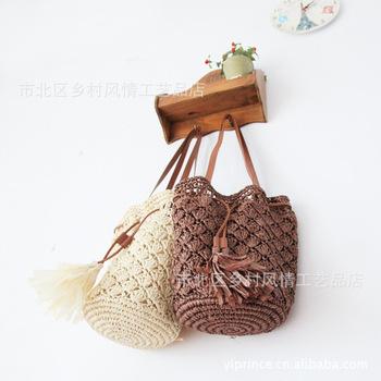 Fan woven bag sweet hand hooked straw bag beach bag women's handbag tassel bag
