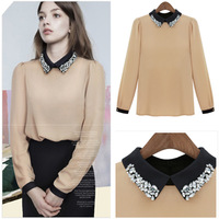 Free shipping 2013 women's fashion casual lace peter pan collar long-sleeve chiffon shirt