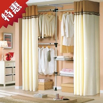 Furniture racks folding hanger French double-pole coatroom simple folding hangers