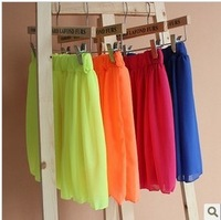 2013 all-match candy color chiffon skirt neon color bust skirt short skirt basic women's skirt miniskirt
