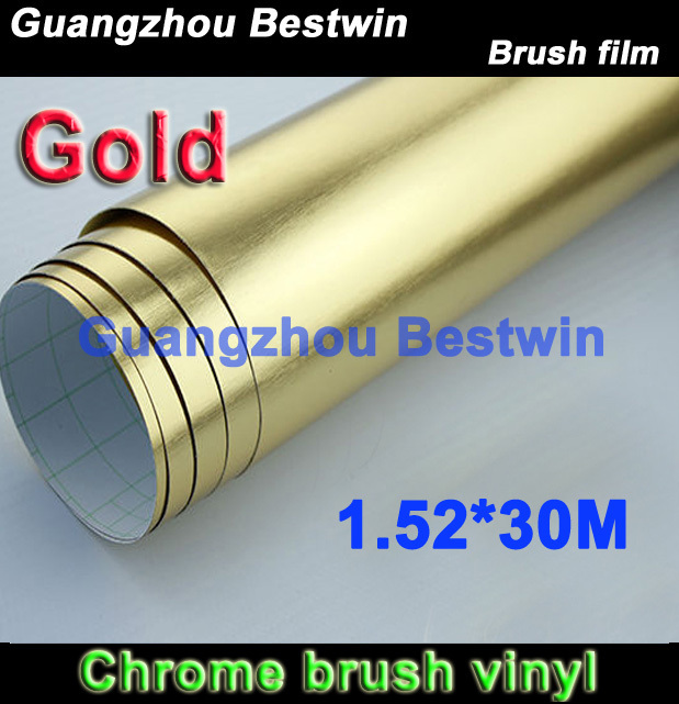 Free shipping whole sell high quality brush mirror chrome 1.52*30M with air bubble free(China (Mainland))
