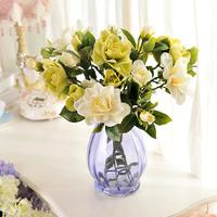 Fashion artificial flower set coffee table gardenia glass vase artificial flower silk flower noble flower decoration