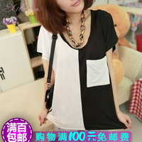 Small fresh 100% cotton solid color female t-shirt female short-sleeve chiffon shirt summer top clothes