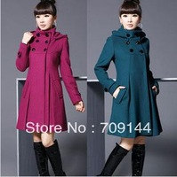 Free Shipping Lady Slim Wool Double-breasted Winter Coat--Women's Coats M L XL XXL XXXL 4XL