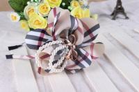 Free shipping wholesale 2013 new British style plaid big flower design hair bands for kids pearl headband women girls headwear