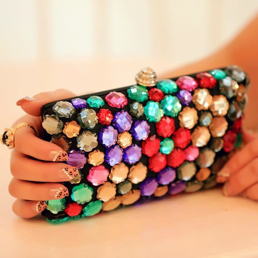 Multicolour gem evening bag , fashion popular women's handbag magazine hot-selling bag(China (Mainland))