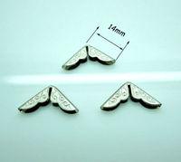 500PCs Silver Tone Small Book Scrapbooking Albums Menus Folders Corner Protectors 14x14mmx2.8mm Wholesale