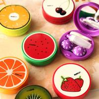 Free Shipping 2PCS /Lot 7.3*7.3*2.1CM New Sweet Fruit Series Contact Lenses Box & Case/Contact lens Case companion box