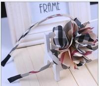 Free shipping wholesale 2013 new British style plaid big flower design hair bands for kids ribbon headband women girls headwear