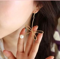 New arrival ! Fashion Earrings.Metal Pearl Earring gold Color Korean Style Free shipping (gold)