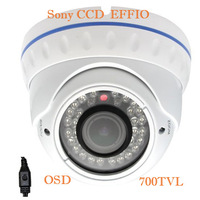 """1/3"""" Sony CCD EFFIO-E 700TVLine IR Vandal-proof CCTV Dome Camera With 2.0 Megapixel 2.8-12mm Lens,30M Night Vision free shipping"""