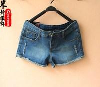 Fashion personality distrressed water wash denim blue plus size denim shorts