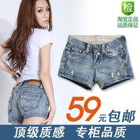 Summer women's 2013 mid waist denim shorts water wash single-shorts hole female lowing
