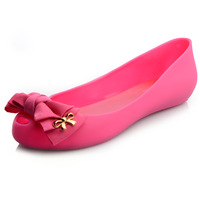 Hot-selling 2013 spring and summer bow cutout crystal jelly sandals flat women's shoes single shoes casual shoes