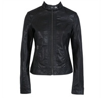 New Design High Quality Pimkie Women Slim PU Leather Motorcycle Jacket Lady  Fashion Plus Size Short jacket Black Free Shipping