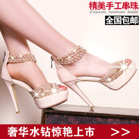 2013 rhinestone beaded thin high-heeled heels open toe genuine leather platform sandals bohemia crystal