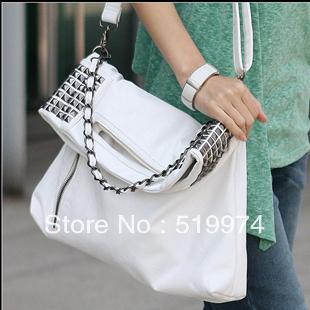 2013 women's handbag female shoulder bag handbag rivet messenger bag  faux leather black and white free shipping
