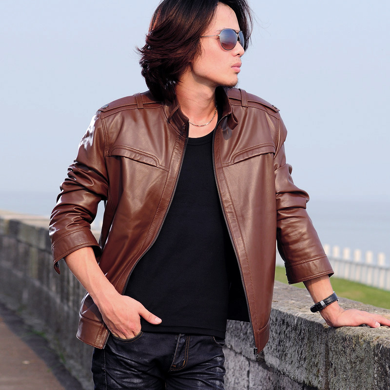 Dandikeni autumn and winter new arrival leather clothing male stand collar sheepskin leather jacket outerwear(China (Mainland))