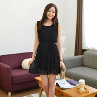 2013 women's fashion o-neck chiffon skirt slim waist pleated one-piece dress sleeveless one-piece dress