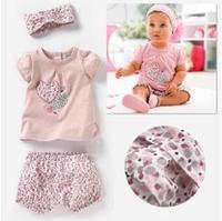2013 Children's Clothing  girls Clothing Sets baby kids girls short sleeves clothes suts(t shirt+shorts+Headdress)3pcs,5sets/lot