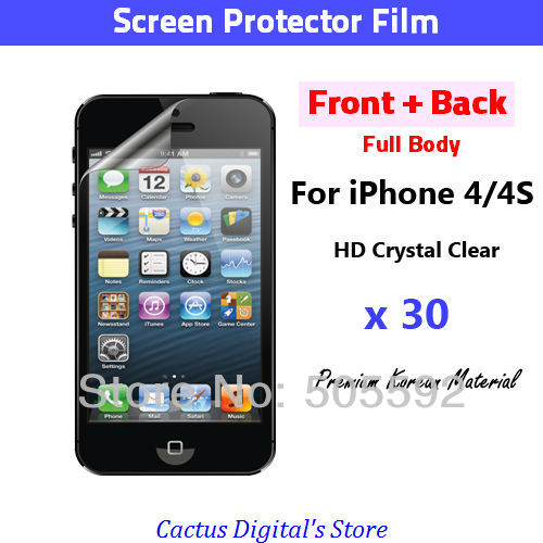 Full Body Crystal Clear Front and Back Full Body Screen protectors for IPhone 4 30 Packs IPH4FC30NP(Hong Kong)