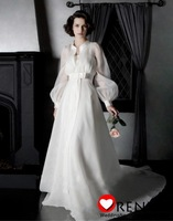 Amazing Elegant High Collar Long Sleeve White Wedding Bridal Dress With Coat 2013 New Fashion