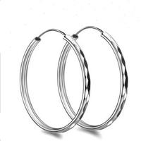 925 Sterling Silver Earring,50mm Hoop Earring Style,Trendy Design Wholesale OE09