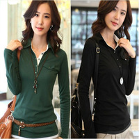 Free shipping  2013 autumn women long-sleeve T-shirt slim color block basic shirt ladies polo shirt