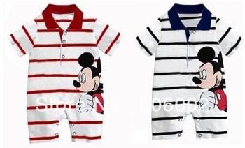Free Shipping Baby Boy Cartoon bodysuits Cute mickey romper Short sleeves striped jumpsuits Infants wear 3pcs/lot