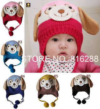 Free Shipping animal dog shaped knitted baby cap boy girl winter hat for child to keep warm 5 colors hats is children's(China (Mainland))